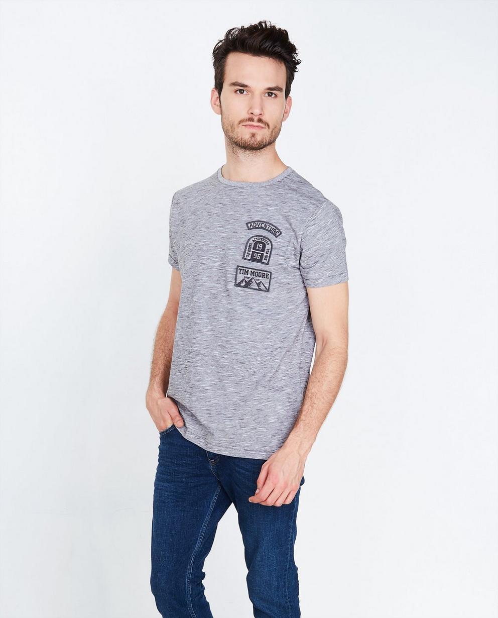Grijs gemêleerd T-shirt - comfort fit - Tim Moore